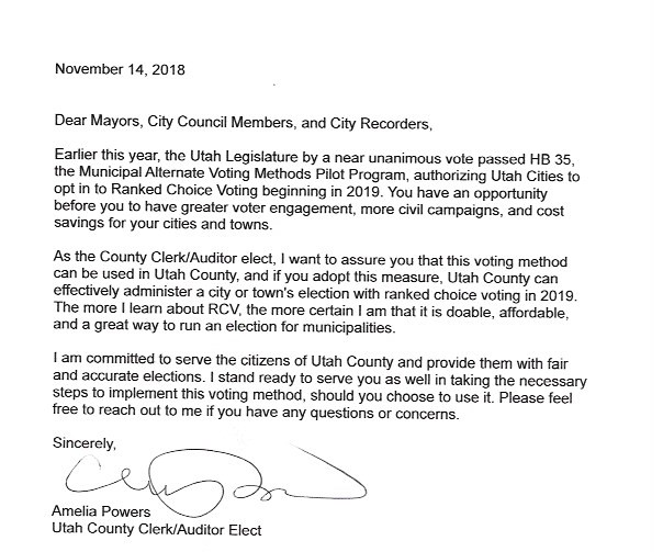 Utah County Clerk Committed to Administering Ranked Choice Voting
